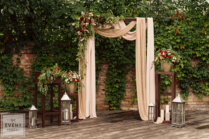 outdoor brick and floral wedding decor