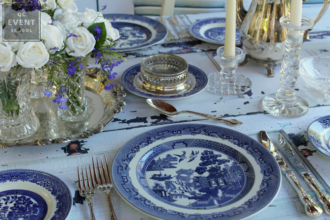 event place setting with fine china