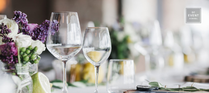 wine glasses for a sophisticated event planned with event planner certified programs
