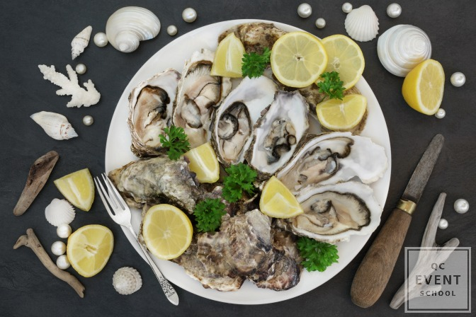 Oysters on a platter for fancy event catering