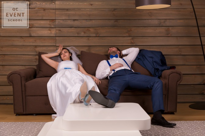 exhausted bride and groom after wedding