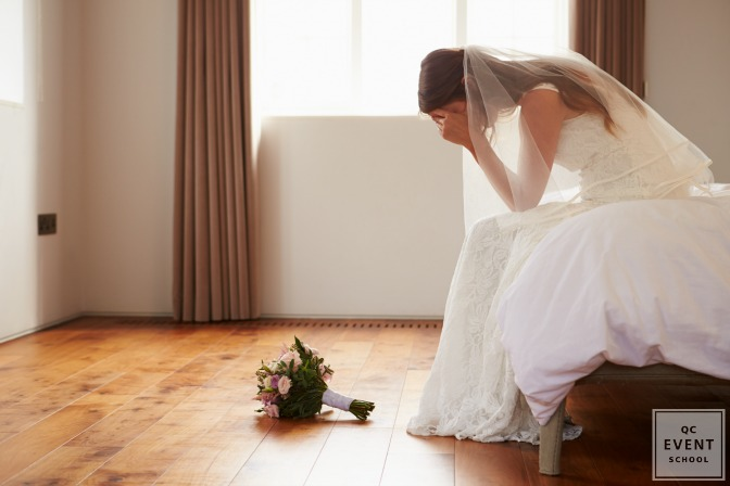 bride crying before wedding