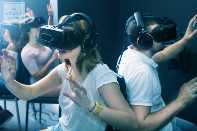 People virtually attending an event using VR equipment
