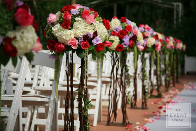 floral wedding aisle for event planning