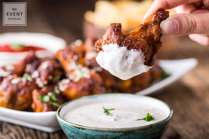 saucy chicken wings are bad choices for appetizers at a fancy event