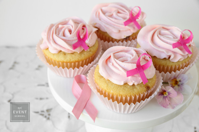 breast cancer ribbon cupcakes for a fundraising event planned by certified event planner