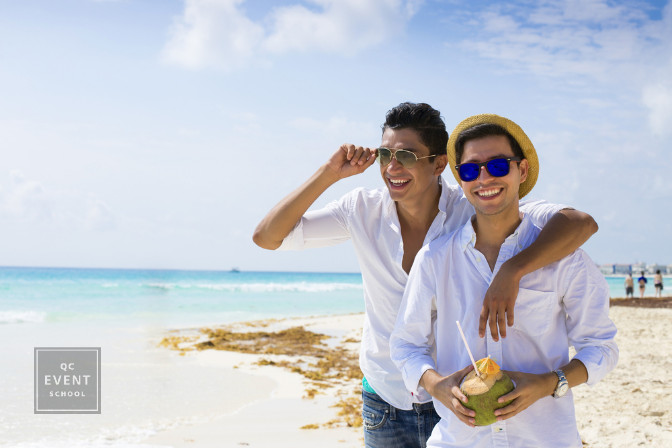 Caribbean LGBTQ+ destination wedding planning clients on beach