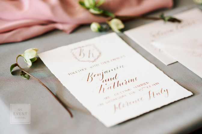 calligraphy for a destination wedding