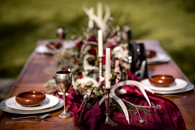 event decor of Cherry Creek Events for a Viking Themed Wedding