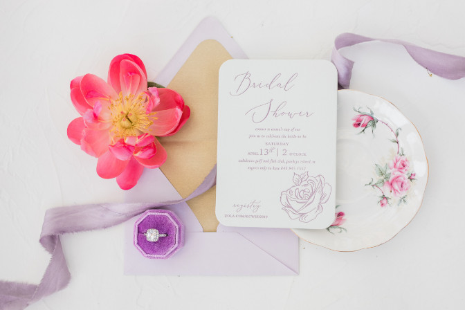 Sarah Christopher - cheers and champagne tea party invites - Calligrapher: Ashlyn O'Neal Calligraphy · Stationery by Charlotte and Lily
