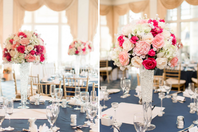 landscape wedding reception tables with event decor and floral design