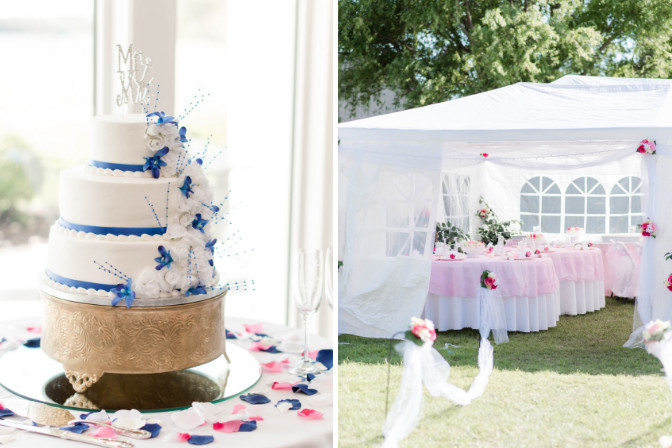wedding cake and outdoor venue Photo by Katie Gallagher