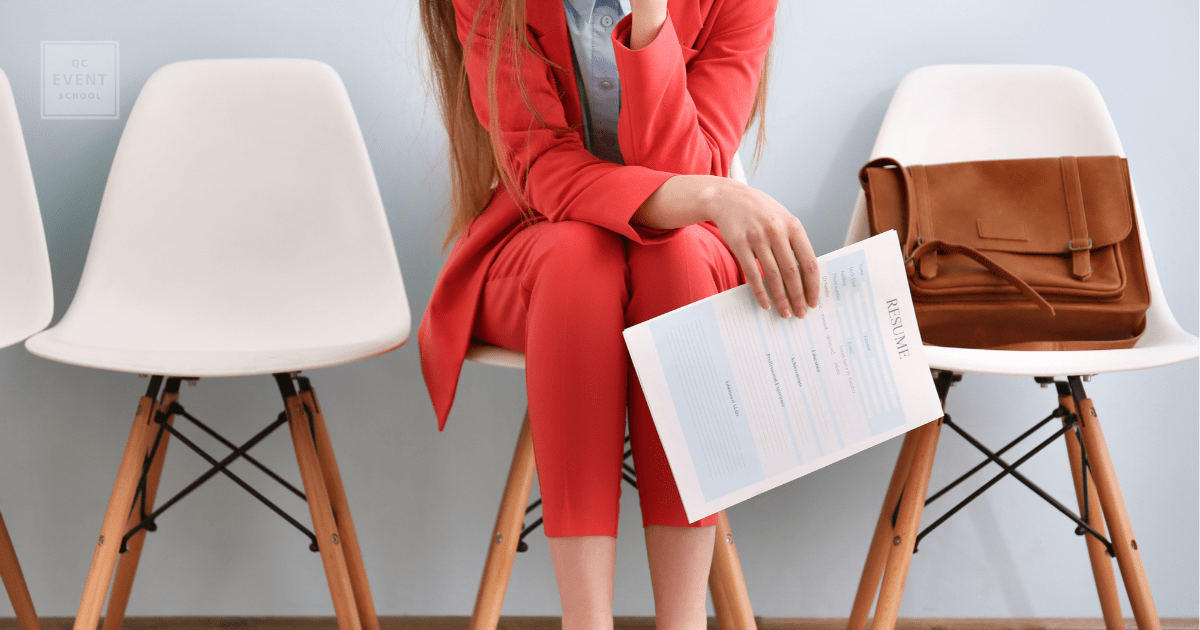 stylish event planner holding her resume
