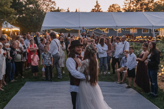first dance between bride and groom for Alyssa Emilia Events planned wedding