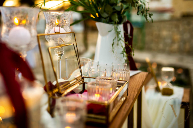event decor closeup shot of destination wedding planner VITAVENIR