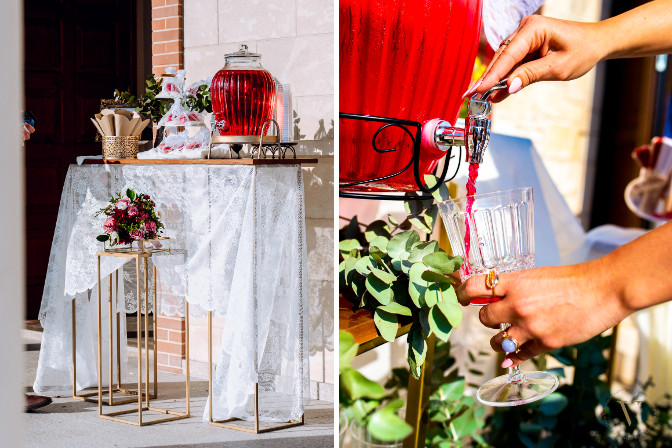 fruit punch beverage dispenser at a styled shoot by vitavenir