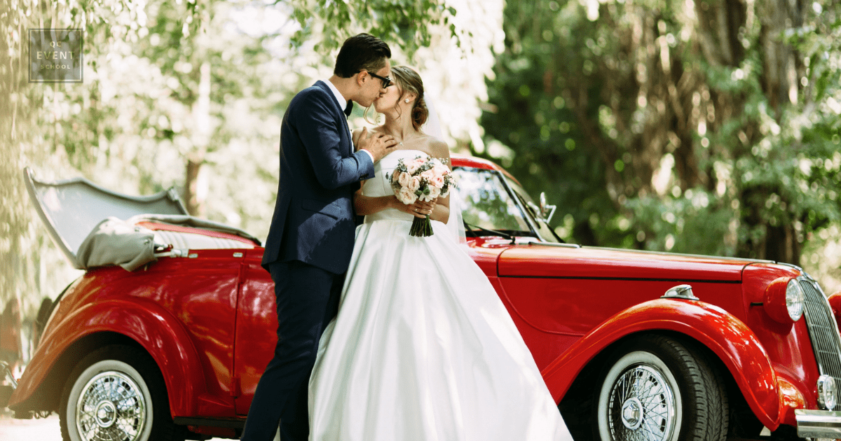 bride and groom kissing on front of car for destination wedding planning portfolio