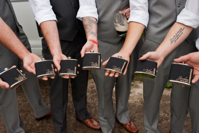 groomsmen with custom flask Wallflower Events and Designs Portfolio
