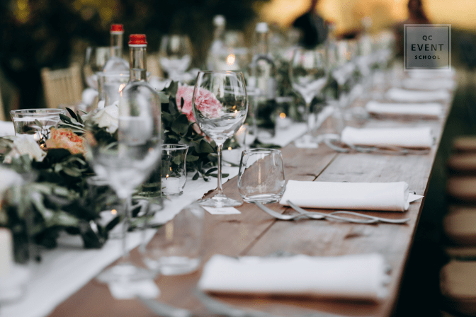 classy table setup with wine glasses