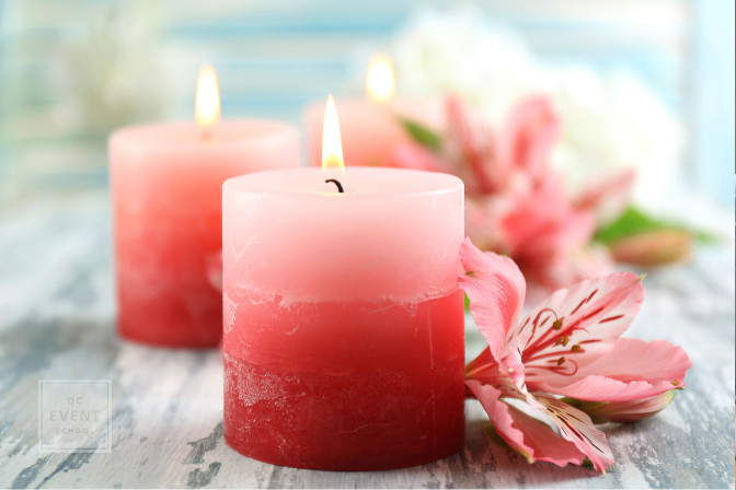 Pink candles with pink flowers