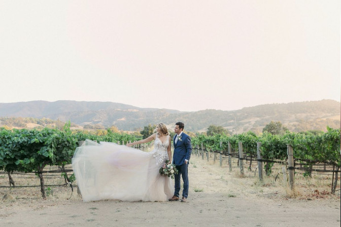 Bride and Groom in a Winery