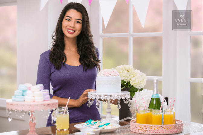 female party planner setting up private party
