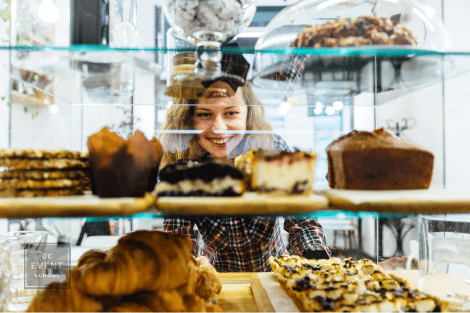 woman looking at bakery display