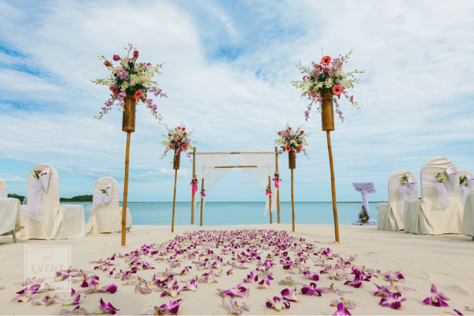destination wedding, flower setting on the beach