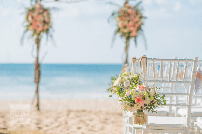 beautiful Wedding setting on the beach with sunny at Phuket Thailand