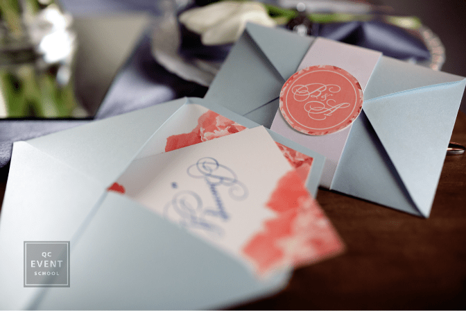 wedding decor - invitations and envelopes on table
