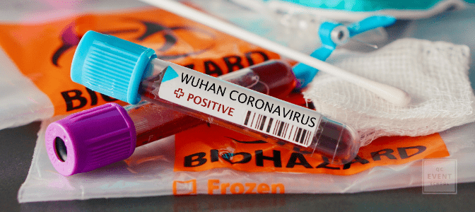 Positive blood test and swab result for the new rapidly spreading Coronavirus, originating in Wuhan, China with a respirator mask and biohazard bags