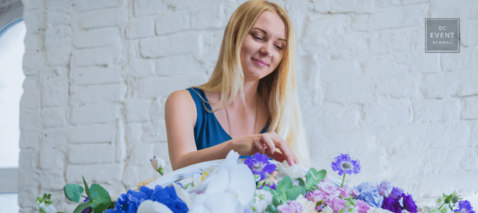 woman increasing her event planner salary by learning floral design