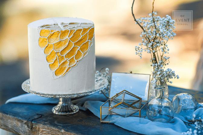 wedding cake and display on table