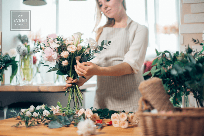 event planning expert crafting bouquet