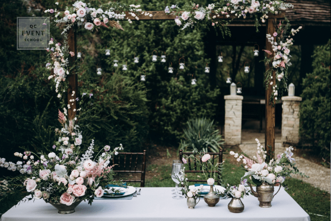wedding and event planning floral decor and bouquets for outdoor reception