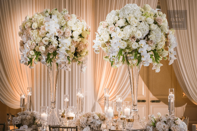 wedding and event planning floral centerpieces for indoor reception table