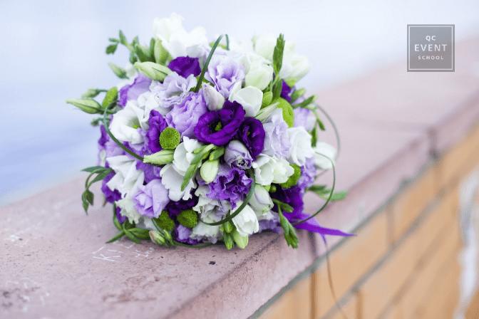 bouquet on wooden ledge