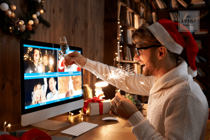 man celebrating christmas on virtual call with friends and family