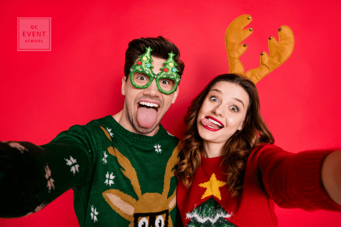 man and woman making silly faces and wearing ugly Christmas sweaters