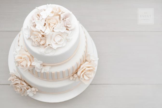 top of white wedding cake