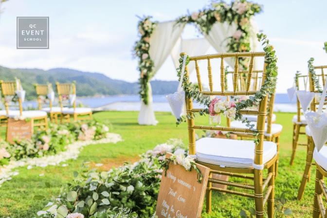 outdoor wedding ceremony and decor