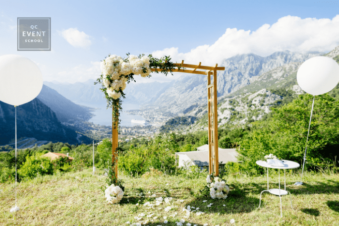 destination wedding outdoor ceremony arch