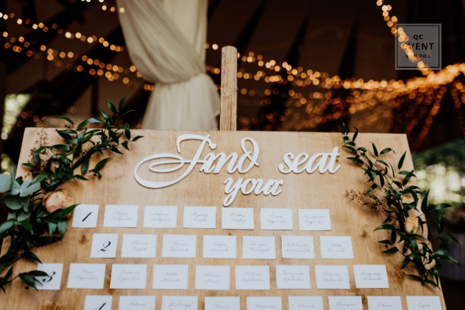 indoor wedding reception seating chart