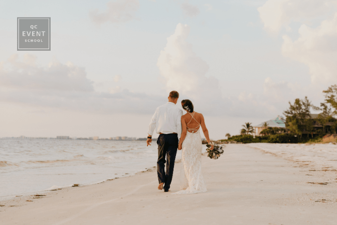 bride and groom walking on beach, destination wedding