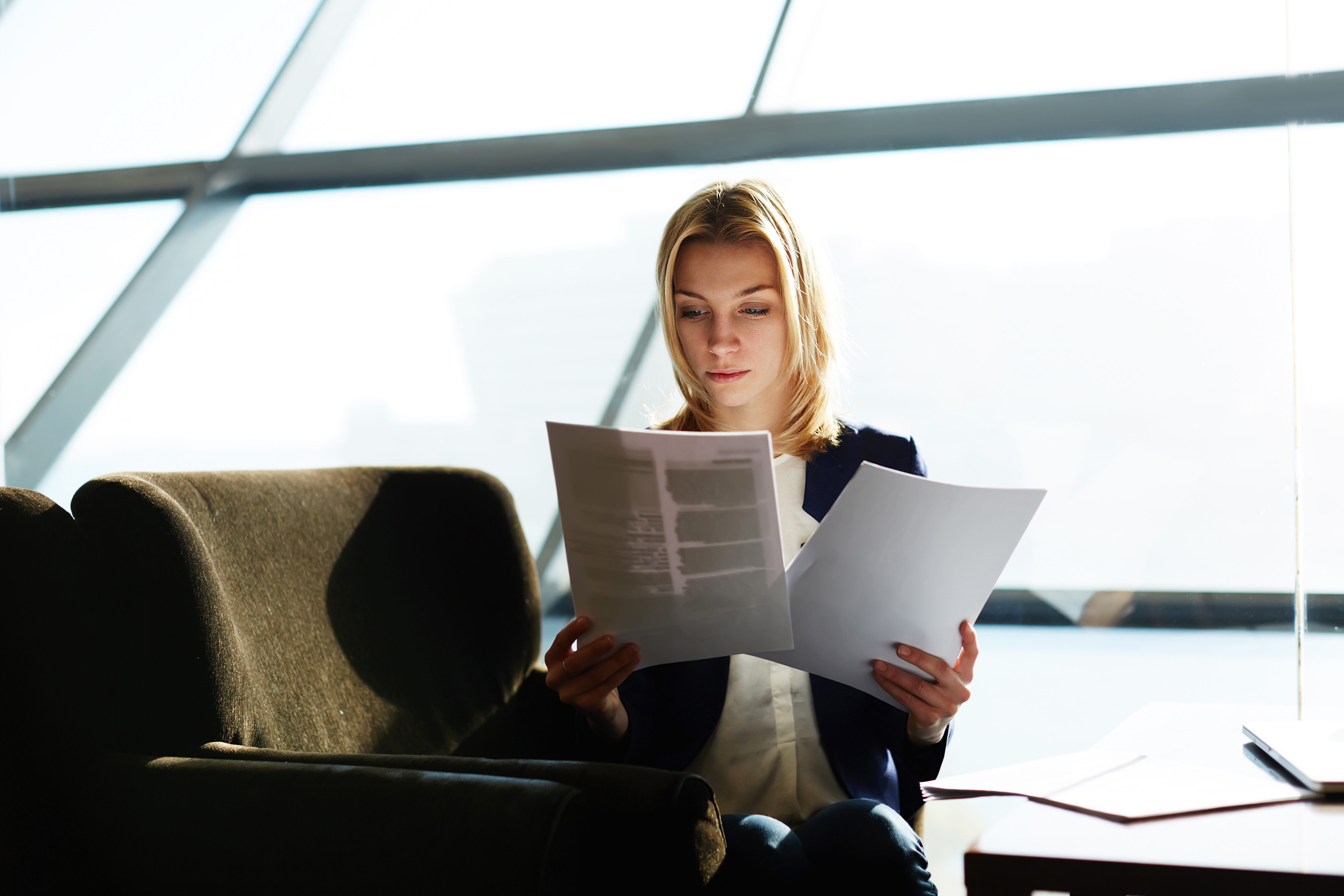 Woman studying business