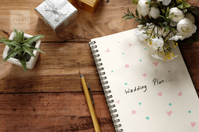 Wedding planning notebook on table