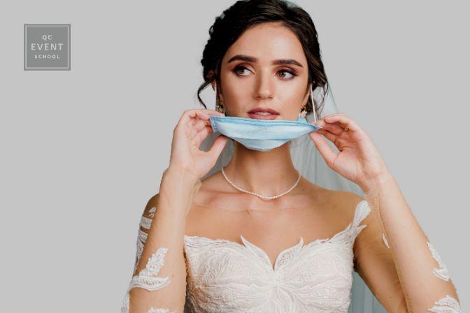 Bride taking off face mask