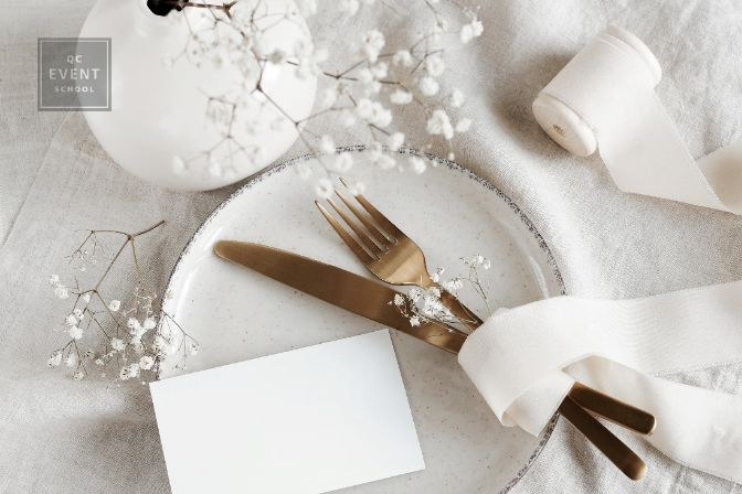Сard mockup on empty modern minimal table place setting neutral beige color . Space for text. Sheet card template, wedding invitation, cutlery, Scandinavian style.