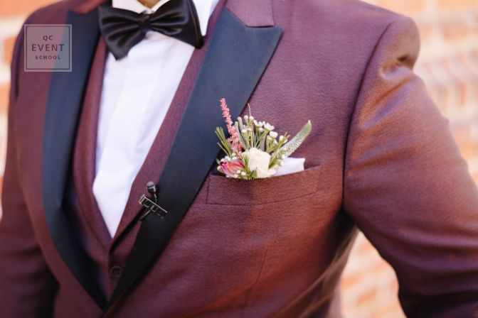 Bride and groom wedding details flower bouquet and bowtie