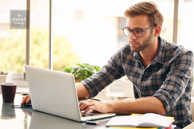 Event planner job description, July 20 2021, in-post image, adult man studying off laptop at home